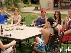 Group of swingers doing some nasty things outdoors