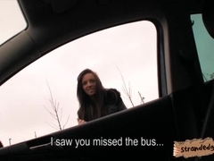 Skinny black haired teen Gina Devine fucked in the backseat
