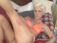 Smoking hot busty blonde milf toying and fucking