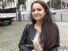 Amateur brunette Czech girl flashes tits and public sex