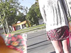 Cute classic panties exposed in amateur upskirt vids