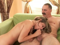 The remarkable girl Rosee sucks the old smelly grandpa's penis