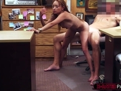 Woman with fake breast fucks at pawnshop by the owner for extra money