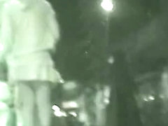 Nighttime voyeur upskirt video of unsuspecting girls