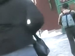 Bunny jiggles her butt on the street before a candid cam