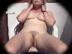 51 year old wife masturbates on the balcony