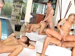 Bridgette B., Allie Jordan, Ally Kay, Alex Gonz, Sonny Hicks, Marco Rivera in Neighborhood Swinger.