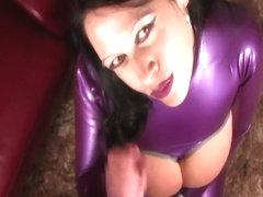 Rubber Bondage Tits - Blowjob Handjob with Purple Nails - Fuck my Pussy - Fuck my Tits - Cum on my.