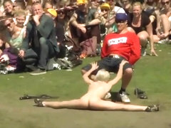 Striptease in front of massive audience