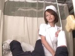 Naughty asian nurse does sexy handjob and rides veiny prick