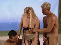 Crazy pornstar Sandra Del Marco in horny blonde, threesome adult movie