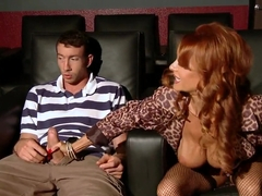 Busty milf Janet Mason plays with Jordan's dick in the cinema