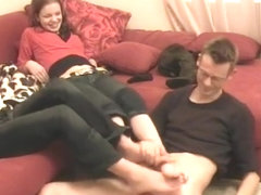 Threesome amateur sockjob and footjob