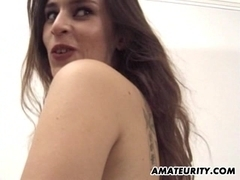 Amateur girlfriend anal threesome with cum brush