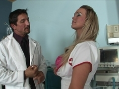 Busty blonde does professional bj to her doctor