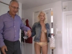 Old man and busty blonde bombshell
