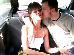 Tiny pussy beaded on rod on taxi adult spy cam