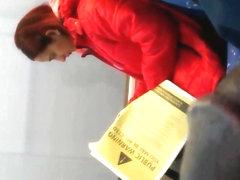 flashing unlucky Turkish woman on the train