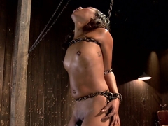 Ebony Slut is Tormented and Machine Fucked!!