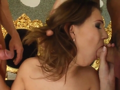 Sweet dolly Mel gets screwed by two wild dudes
