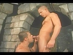 Sensual hunk does blowjob to his naughty lover
