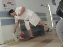 Chubby mature cleaning lady upskirt