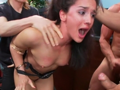 Brunette Bank Teller with Big Round Ass gets Gangbanged by Bank Robbers in her Naughty Fantasy