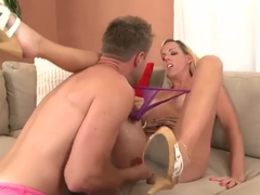 Blonde Milf fingered and stuffed with cock.