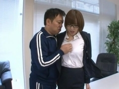 Sexy teacher Hikaru Shiina gets pounded by two horny colleagues