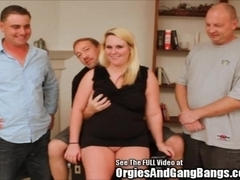 Chubby Bitch Surrounded by Cumming Dicks