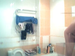 Brunette Czech doll spied in shower by her own roommate