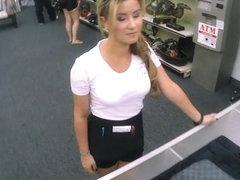 Lovely waitress banged at the pawnshop to earn extra money