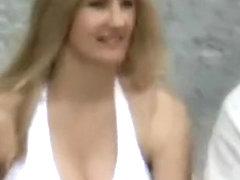 Deep cleavage bouncing titties on road