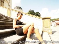 Sexy ass brunette Katia gives head outdoor