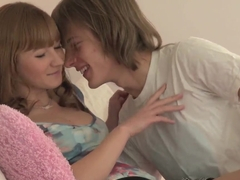 A teen couple get a little naughty together