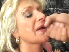 Horny blonde MILF in fishnet stockings gets her fat pussy fucked
