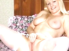 Chunky blonde big dildo fun