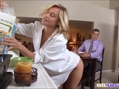 Horny Kennedy exposes her tits and clit and sucks the forbidden dick