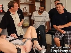 Bondage Brunette Chained and Gang Banged