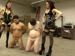 2 Doms Whip Their Slaves