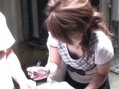 Asian sugar flaunts her titties before a downblouse voyeur