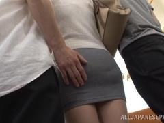 Kanon Takikawa nasty Asian milf gives a public double blowjob