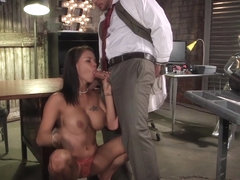 Busty babe drilled in office