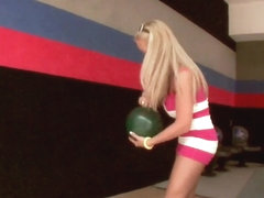 Jessica Moore and her girlfriend playing bowling