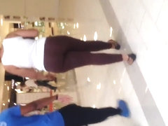 Nice fat black ass in see thru brown leggings