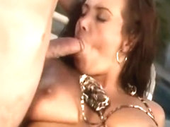 Busty brunette pornstar has two hung guys fulfilling her sexual needs