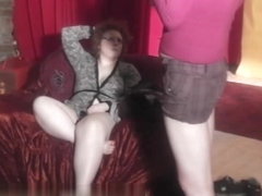 Really fat MILF and her friend in backstage