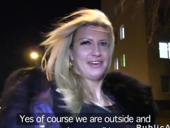 Euro big fake tits flashing in public at night