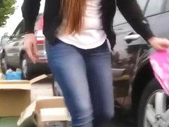 Long hair girl down blouse