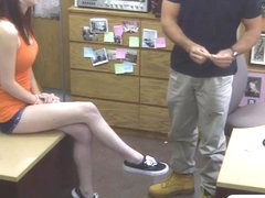 Beautiful chick in glasses gets banged in the backroom